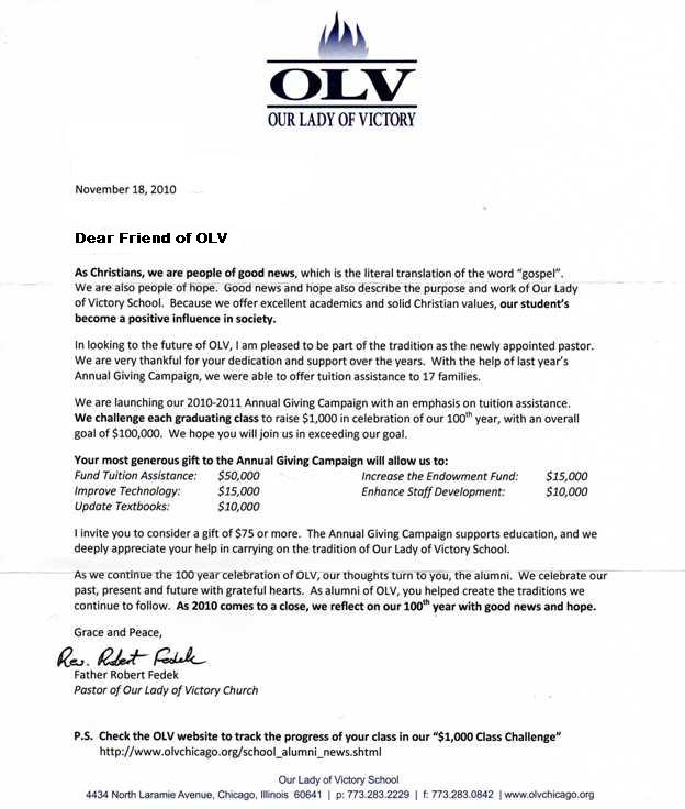 af general letter olv sample - Sample Planned Giving Letters