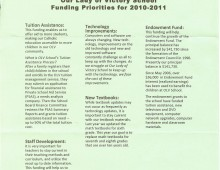 OLV Description of Funding Priorities