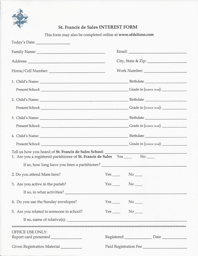 St. Francis de Sales Interest Form