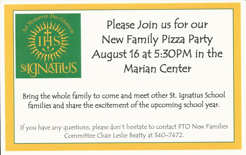 St. Ignatius New Families Welcome Event Postcard